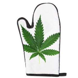 Real Pot Leaf Oven Mitt