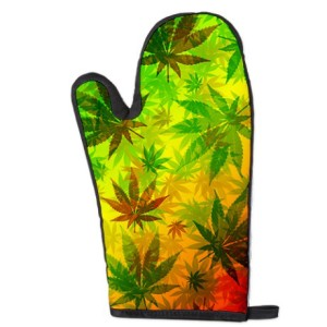 rasta cannabis leaves oven mitt